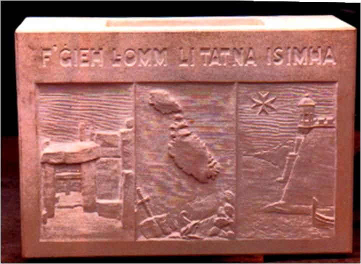 The foundation stone which originated from Malta